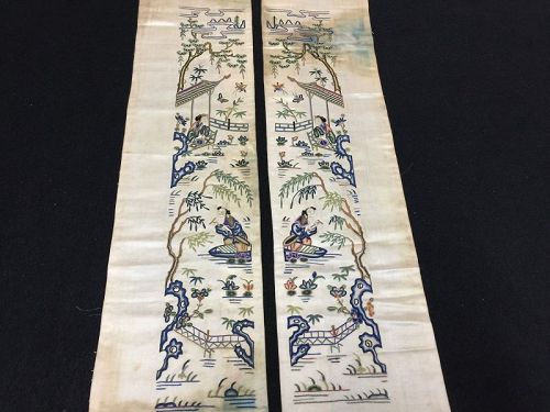 Antique Chinese robe sleeve bands embroidered silk - Pekinese stitch 2