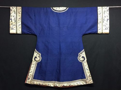 Antique Chinese embroidered blue silk robe - Roundels & Peking Stitch