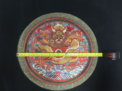Antique Chinese embroidered imperial dragon robe roundel, rank badge