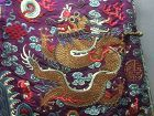 Antique Chinese embroidered semi formal dragon silk robe - Jifu