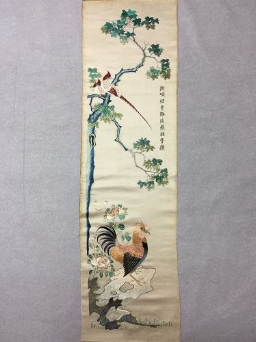 Antique Chinese Cantonese embroidered silk panel #2 广绣���鸣��绪�巳年
