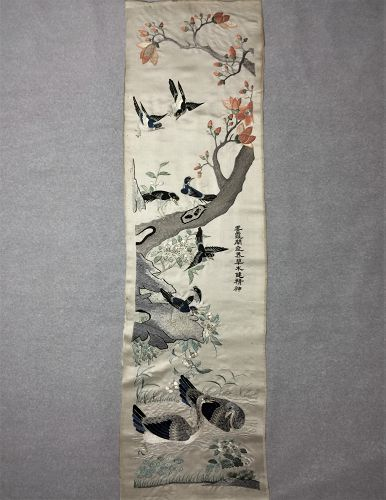 Antique Chinese Cantonese embroidered silk panel #3 广绣���鸣��绪�巳年