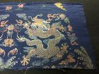Antique Chinese robe's silk embroidered 5-claw dragon brocade, 18th C