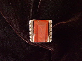 Rare Navajo Single Shank Ring set with Catlinite Stone