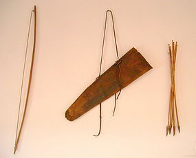 Plains Buffalo Hide Quiver with Bow and Arrows