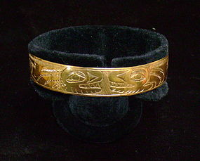 Rare Gold Northwest Coast Haida Bracelet