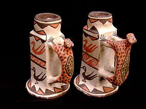 Zuni Mountain Lion Pottery Candlesticks circa 1890