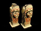 "Zuni Human ""Chief"" Face Pottery Candlesticks circa 1890"