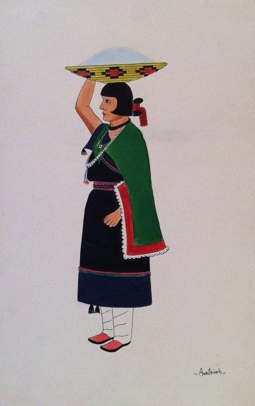 Awa Tsireh Watercolor Depiciting Woman w/ Blue Cornmeal