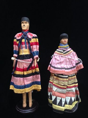 Rare Pair of Wood Matched Seminole Dolls