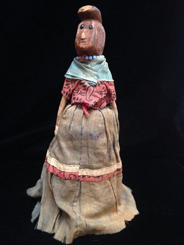 Early Rare Wood Female Seminole Doll