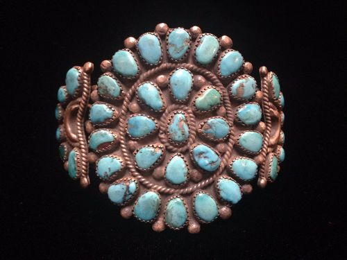 Zuni Silver and Turquoise Clusters Bracelet