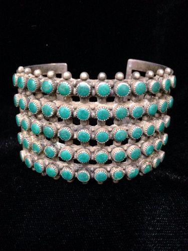 Zuni Cluster Bracelet with 60 Matched Turquoise Stones
