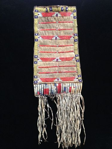Sioux Quilled and Beaded Hide Pouch