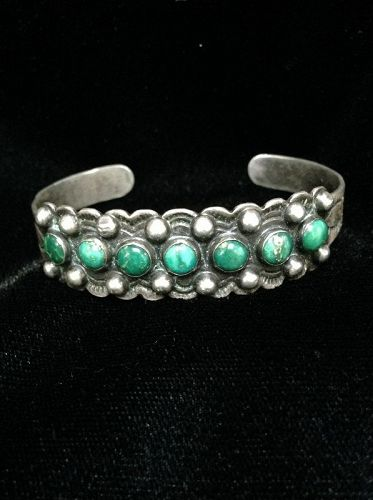 Zuni Bracelet with Seven Green Turquoise Stones