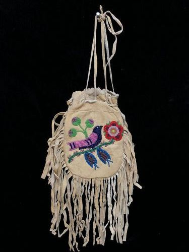 A Beaded Hide Pictorial Plains Cree Pouch