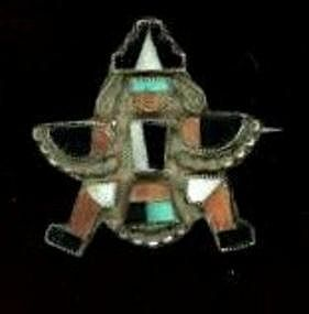 Zuni Silver Stone and Shell Brooch c.1920