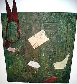 "Alan Kessler ""Hanging Sheep Shearers"" Oil on Wood"