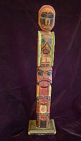 """Northwest Coast Model Totem Pole c.1910-1920"""