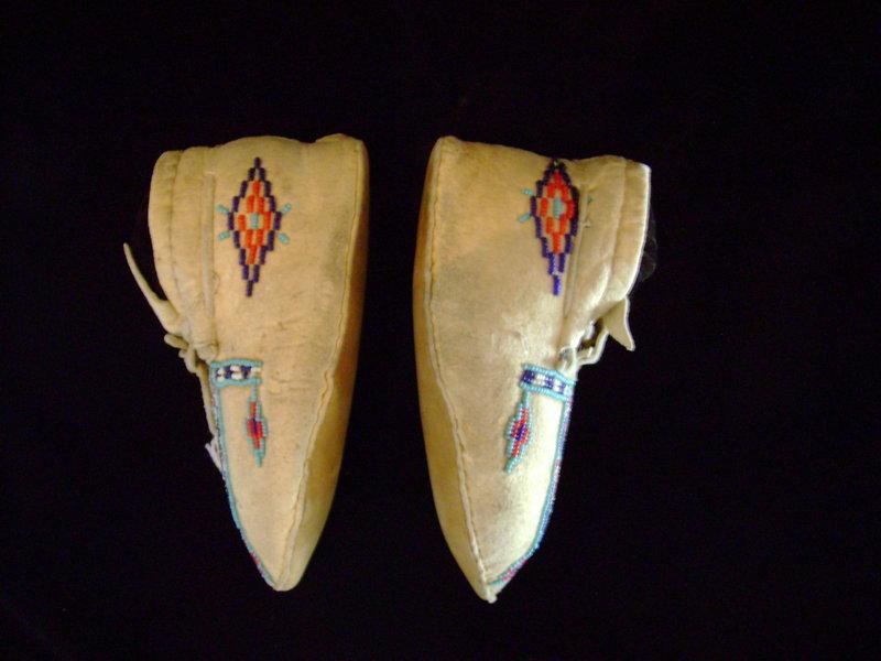 """c .1900-1910 Blackfoot Child's Beaded Hide Moccasins"""