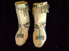 """c.1880-1890 Lipan Apache Beaded Hide Moccasins"""