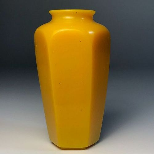 Antique Chinese Imperial Yellow Peking Glass Faceted Vase