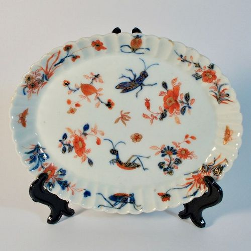 Antique Chinese Kangxi Porcelain Dish with Insects and Floral Motif