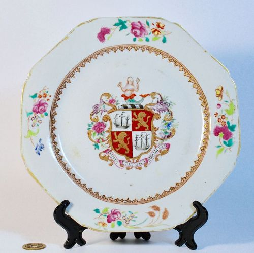 Antique Chinese Export Porcelain Armorial Plate, Qing Qianlong