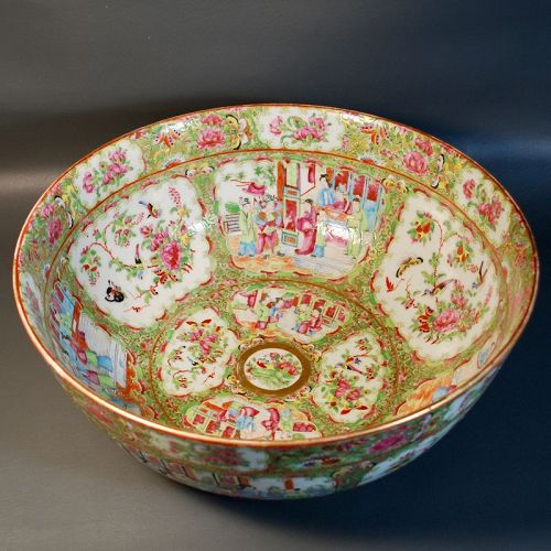 Antique Chinese Punch Bowl Canton Rose Medallion, Qing