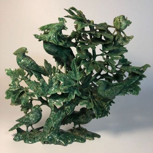 Large Vintage Chinese Carved Jade Tree with Birds Sculpture