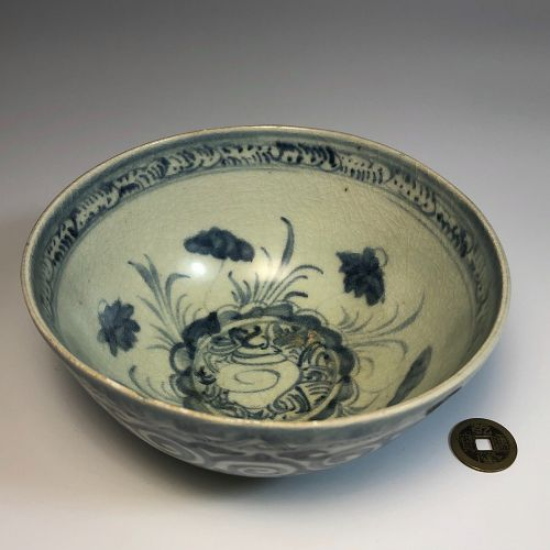 Antique Chinese Blue and White Bowl, Ming Dynasty, Conch Shell Lotus