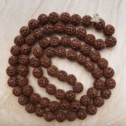 Antique Chinese Carved Hediao Beads Long Necklace