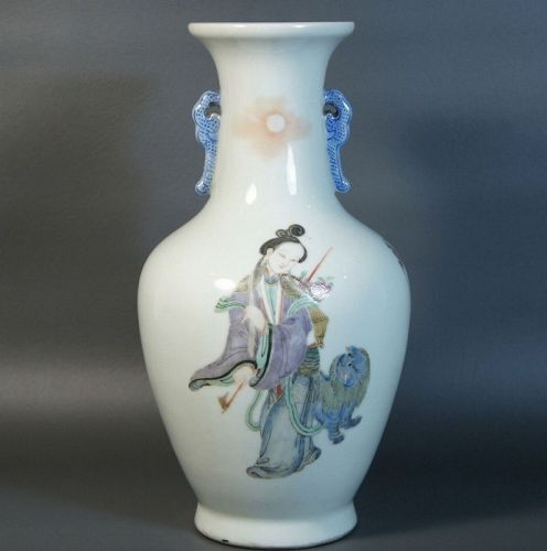 Antique Chinese Porcelain Vase Handpainted Magu Deity, Qing Dynasty