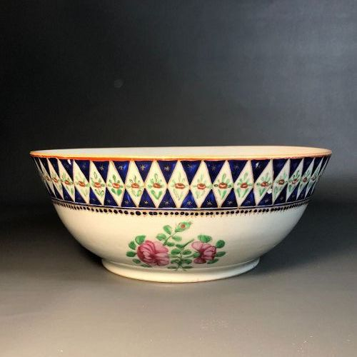 Chinese Antique Export Punch Bowl, Blue glaze gold gilt, Qing, Large
