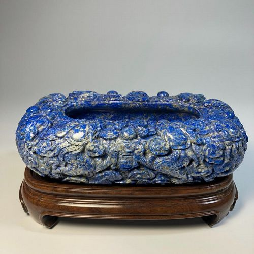 Monumental Antique Chinese Carve Lapis Lazuli Brush Washer Nine Dragon