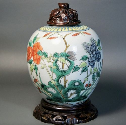 Antique Chinese Wucai Porcelain Ginger Jar, Carved Wood Lid and Stand