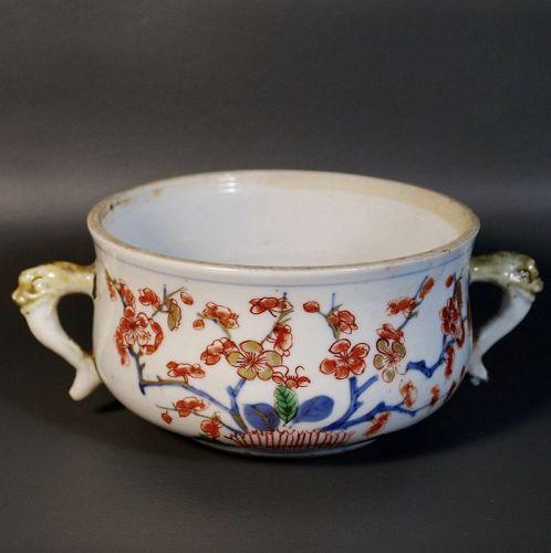 Antique Chinese Porcelain Censer Mask Handles Handpainted Glaze, Qing