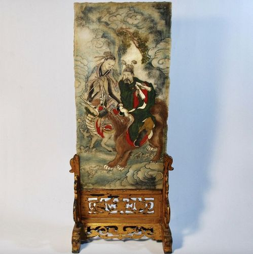Chinese Antique Table Screen with Marble/Alabaster or Stone, Immortals