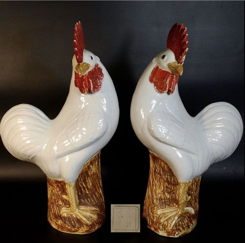 Antique Chinese Export Porcelain Rooster Cockerels Pair, Qing Republic