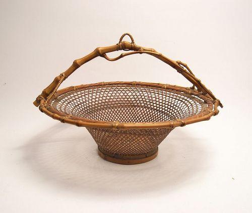Japanese Bamboo Basket with Natural Bamboo Handle by Chikkosai