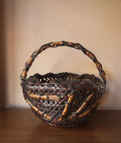 Japanese Bamboo Basket with Bamboo root