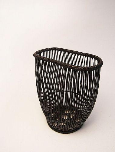 Japanese bamboo flower basket by Shiotsuki Juran