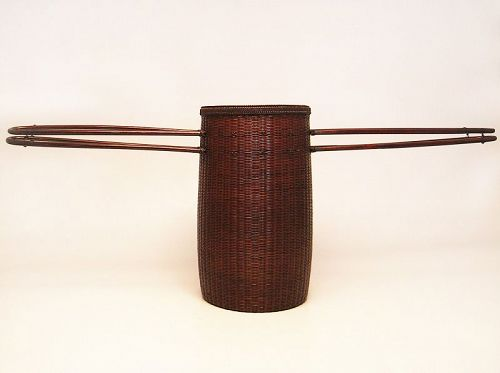 Unique bamboo basket with rattan handles by Tanabe Chikuunsai �