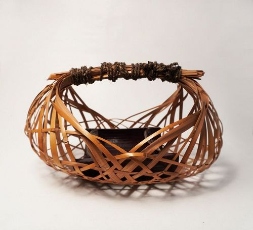 "Japanese bamboo basket by Iizuka Rokansai  title ""Sougetsu"""