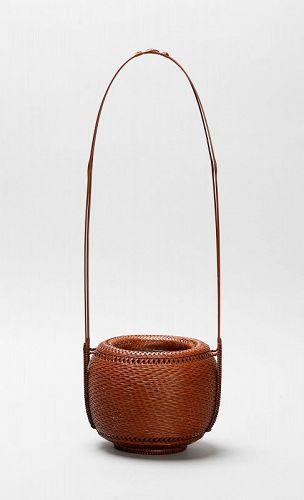 Japanese bamboo basket by living national treasure Fujinuma Noboru