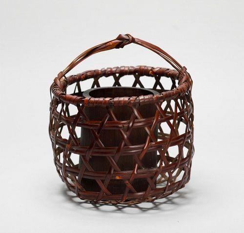 Japanese bamboo flower basket, signed