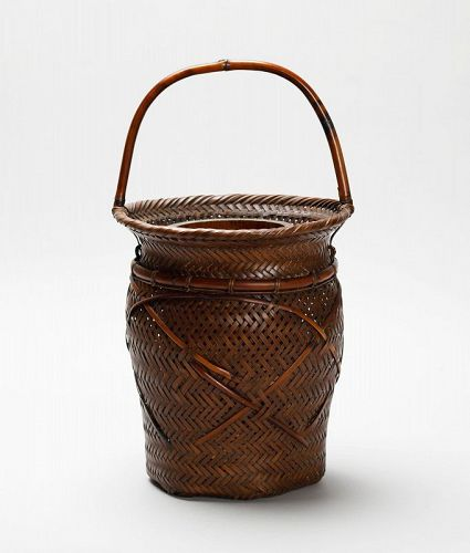 Japanese bamboo flower basket by Chikuyu