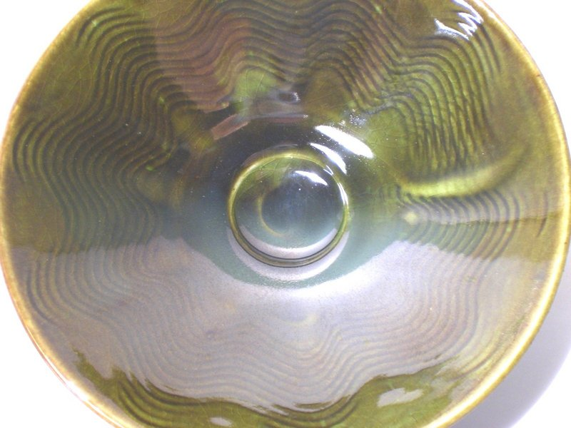 Medieval Green Kushime Shallow Teabowl (1107tb)