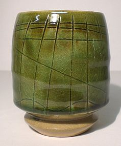 Medieval Green Incised Intersections Yunomi