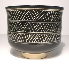 Black & White Katagami Influenced Teabowl (1114tb)